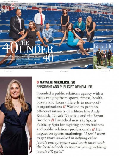 "boca life magazine names npm | pr founder in ""the 40 under 40"" class of 2014"